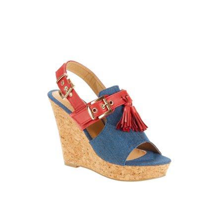 Forever Young Women's Denim Embellishment Wedges With Contrast Straps, Buckles and