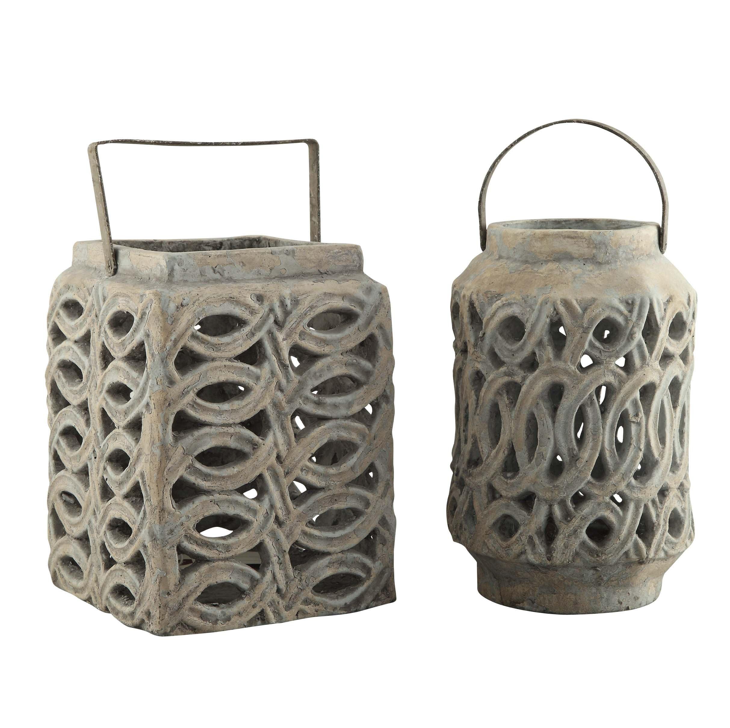 Crestview Hampton Lanterns Set  In Ceramic Antique Stone Finish CVVSA908
