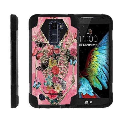 Case for LG K10   LG Premier LTE Hybrid Cover [ Shock Fusion ] High Impact Shock Resistant Shell Case + Kickstand - Rose Flower Skeleton