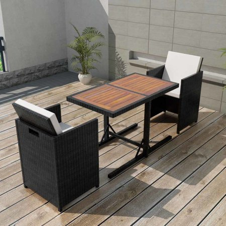 Black 7 Piece Patio (Outdoor Dining Set Seven Pieces Poly Rattan Black)