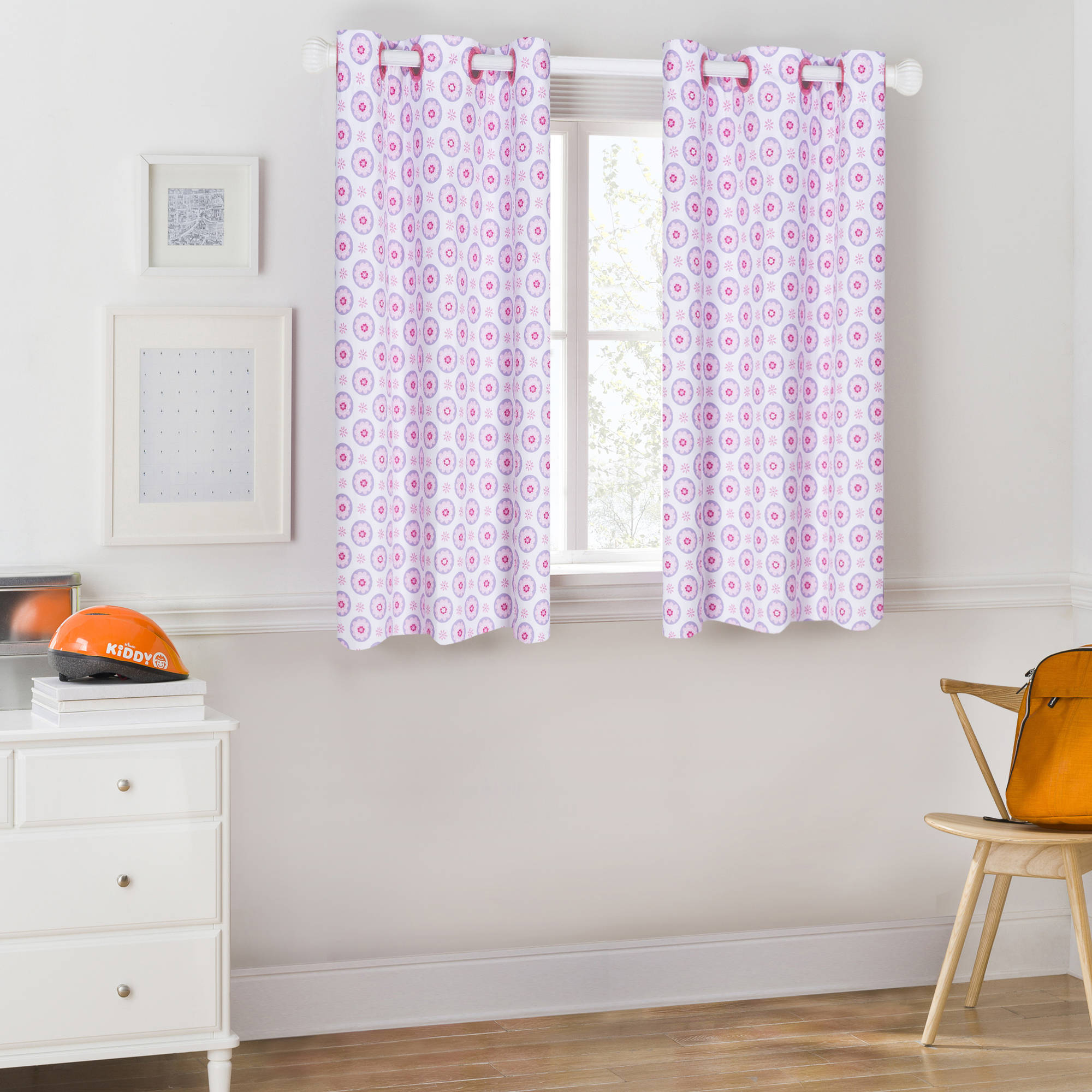Mainstays Kids Pink and Purple Floral Room Darkening Coordinating Window Curtain