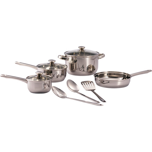 Mainstays 10-Piece Tri-Ply Base Cookware Set, Stainless Steel by Tramontina