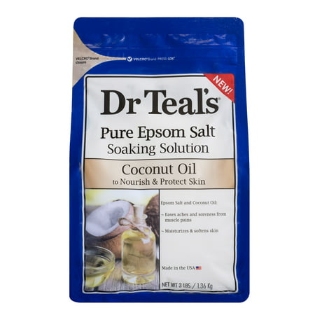 Essential Oils Bath Salt - Dr Teal's Pure Epsom Salt Soaking Solution, Nourish & Protect with Coconut Oil, 3 lb
