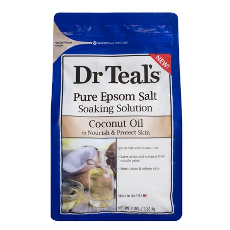 Dr Teal's Pure Epsom Salt Soaking Solution, Nourish & Protect with Coconut Oil, 3