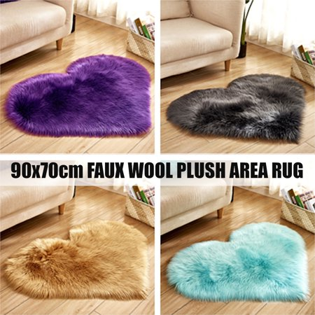 Soft Sheepskin Fluffy Heart Shape Area Rug Faux Fur Shaggy Floor Carpet Love Shaped Rugs Fuzzy Plush Mat Foot Pad for Bedrooms Living Room Decor, 35 x 27Inch