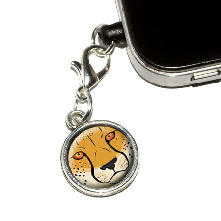 Cheetah Face   Safari Big Cat Mobile Phone Charm