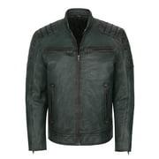 Mens Stand Collar Genuine Sheepskin Leather Jacket