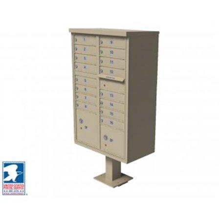 QualArc CBU-16-SS 72 x 42 x 30 in. 1570 12 Door Cluster Box Unit for Tall Pedestal Stucco Columns, Sandstone 1570 Cluster Box Unit