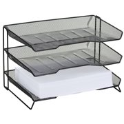 Rolodex 3-Tiered Desk Tray, Mesh Metal, Black