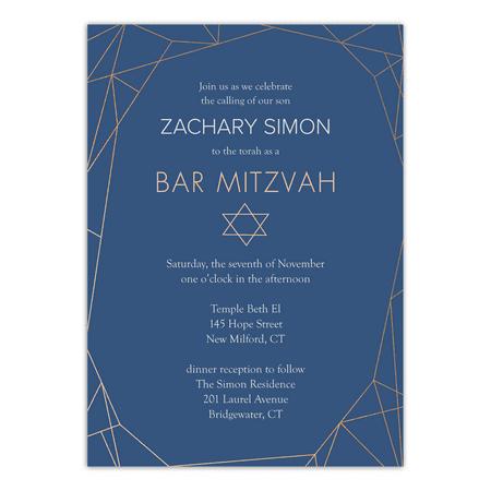 Personalized Bar Mitzvah Invitation - Geometric Bar Mitzvah - 5 x 7 Flat