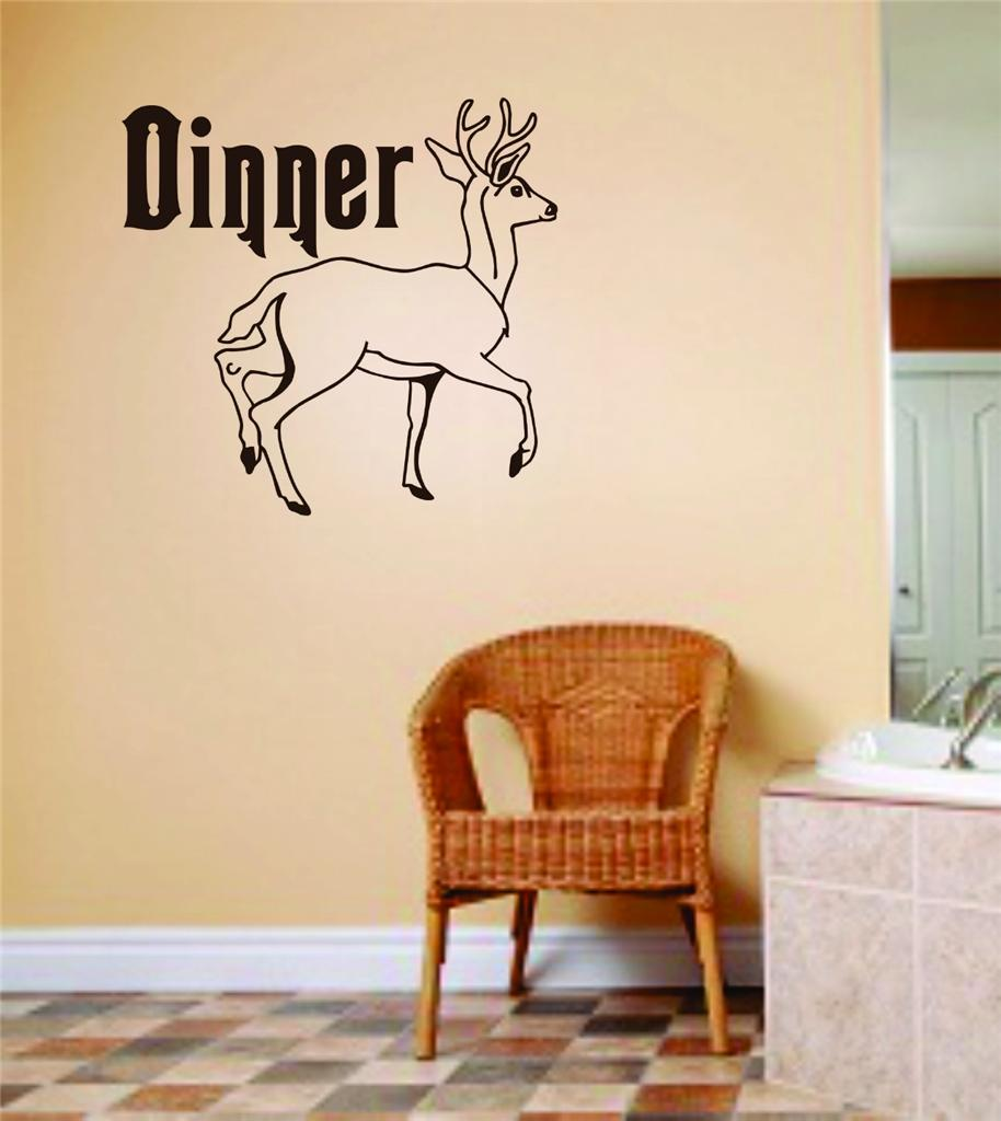 Dinner Letters Deer Image Animal Hunting Hunter Man Gun picture Art Boys Kids Bed Room Vinyl Wall Decal 10 X 10 Inches