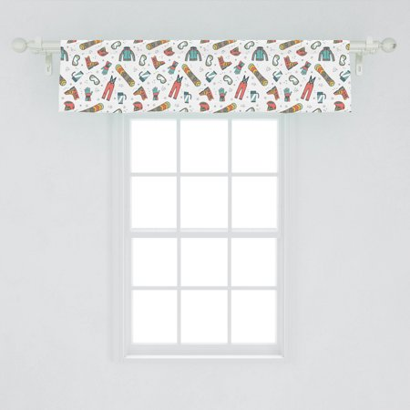 Image of Winter Sports Window Valance, Snowboarding Skiing Equipment with Snow Recreation Travel Outdoor Graphic, Curtain Valance for Kitchen Bedroom Decor with Rod Pocket, by Ambesonne