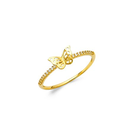 Womens 14K Solid Yellow Gold Butterfly Cubic Zirconia Band Fancy Ring, Size 4 (Yellow Gold Fancy Ring)