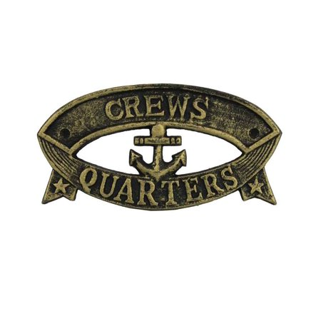 Antique Gold Cast Iron Crews Quarters Sign 9