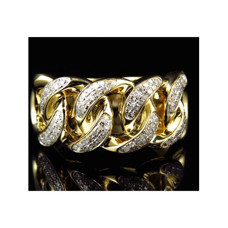 10k Yellow Gold Diamond Cuban Link Pinky Ring (0.40ct) Engagement Pinky Ring