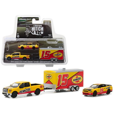 2015 Ford F-150 and 2012 Shelby GT500 Pennzoil with Enclosed Car Hauler 1/64 Diecast Models by Greenlight (Shelby Gt500 Model)
