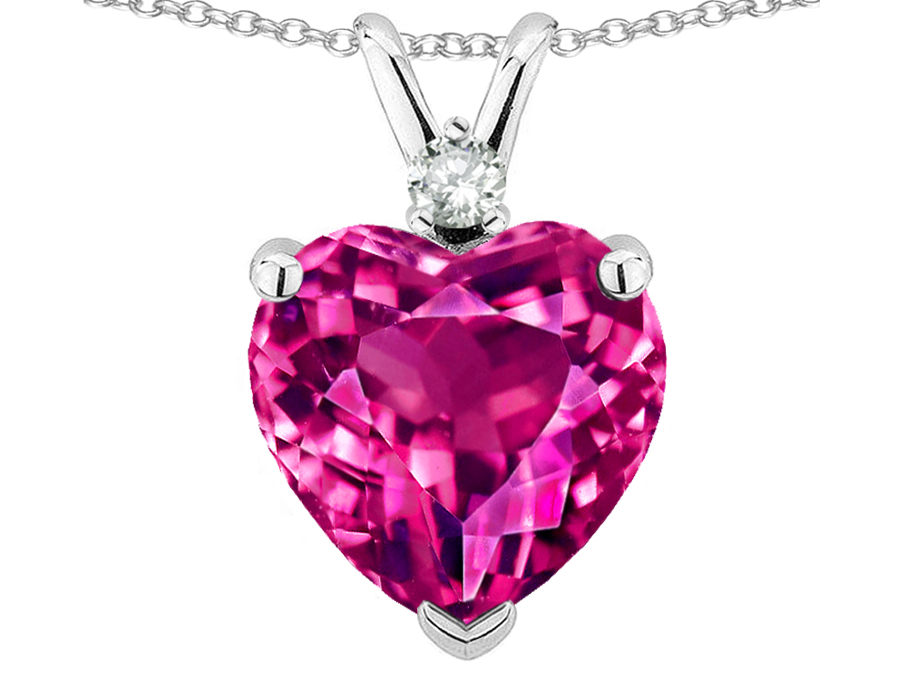 Star K 8mm Simulated Pink Tourmaline Heart Pendant Necklace in 14 kt White Gold by