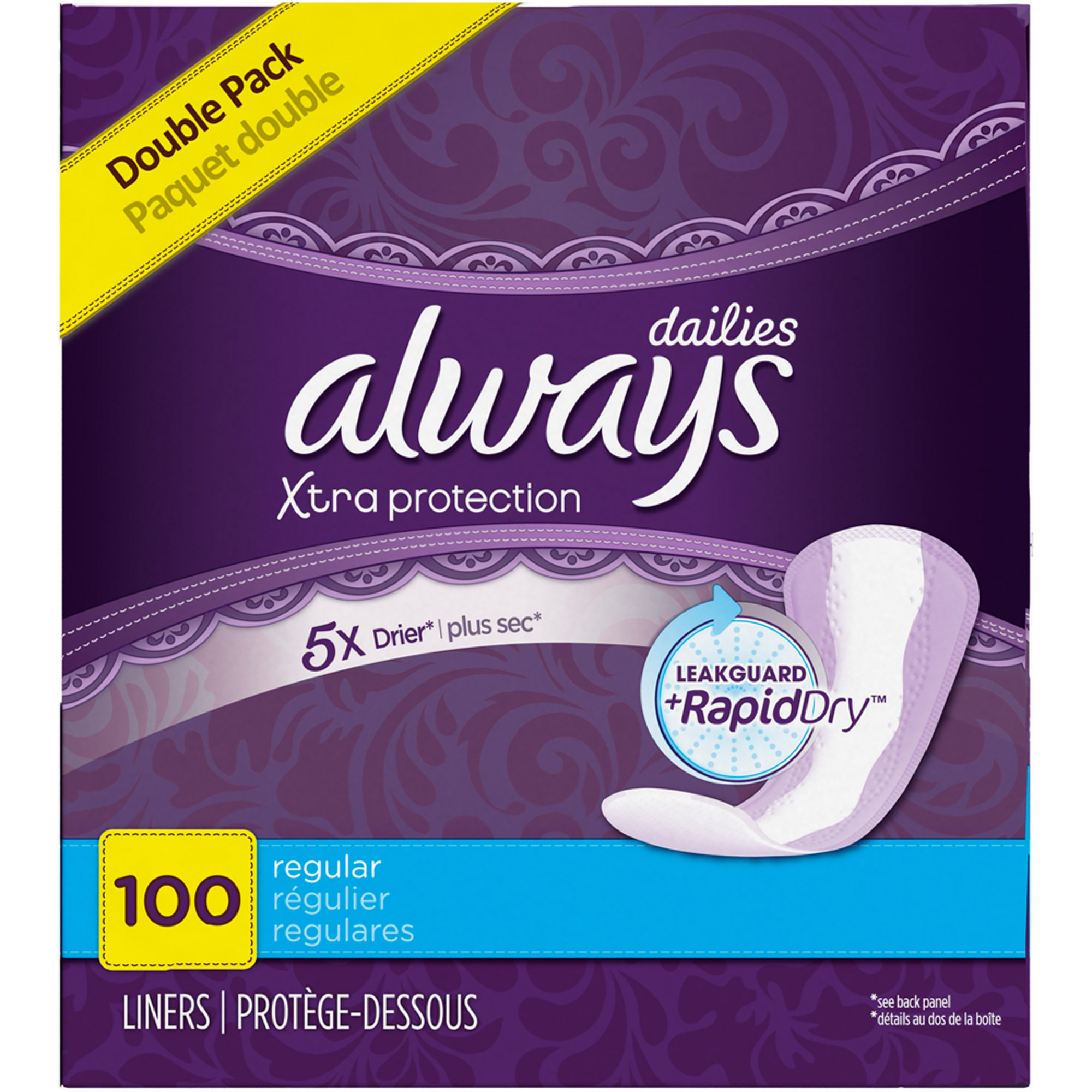 Always Xtra Protection Regular Daily Liners Unscented 100 Count
