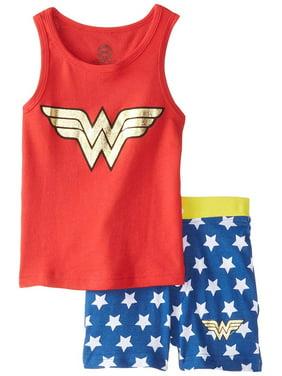 DC Comics Intimo Little Girls WW Retro Tank Short Pajamas, Red, 4 4/5