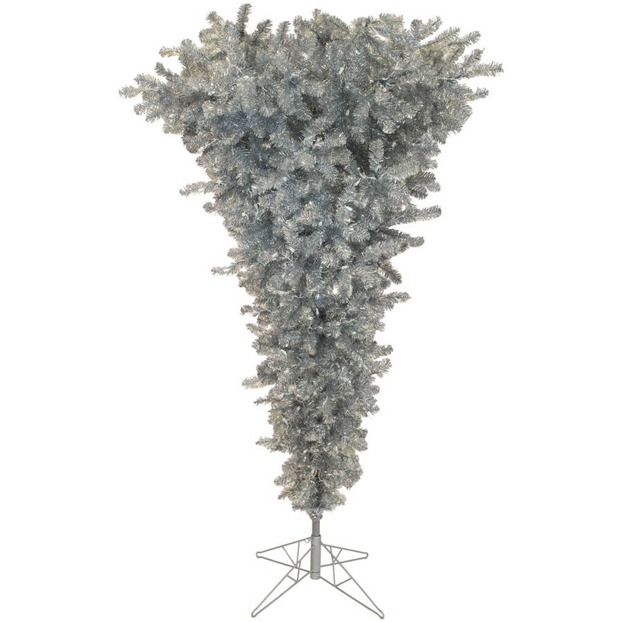 Vickerman 5.5' Silver Upside Down Artificial Christmas Tree with 250 Warm White LED Lights