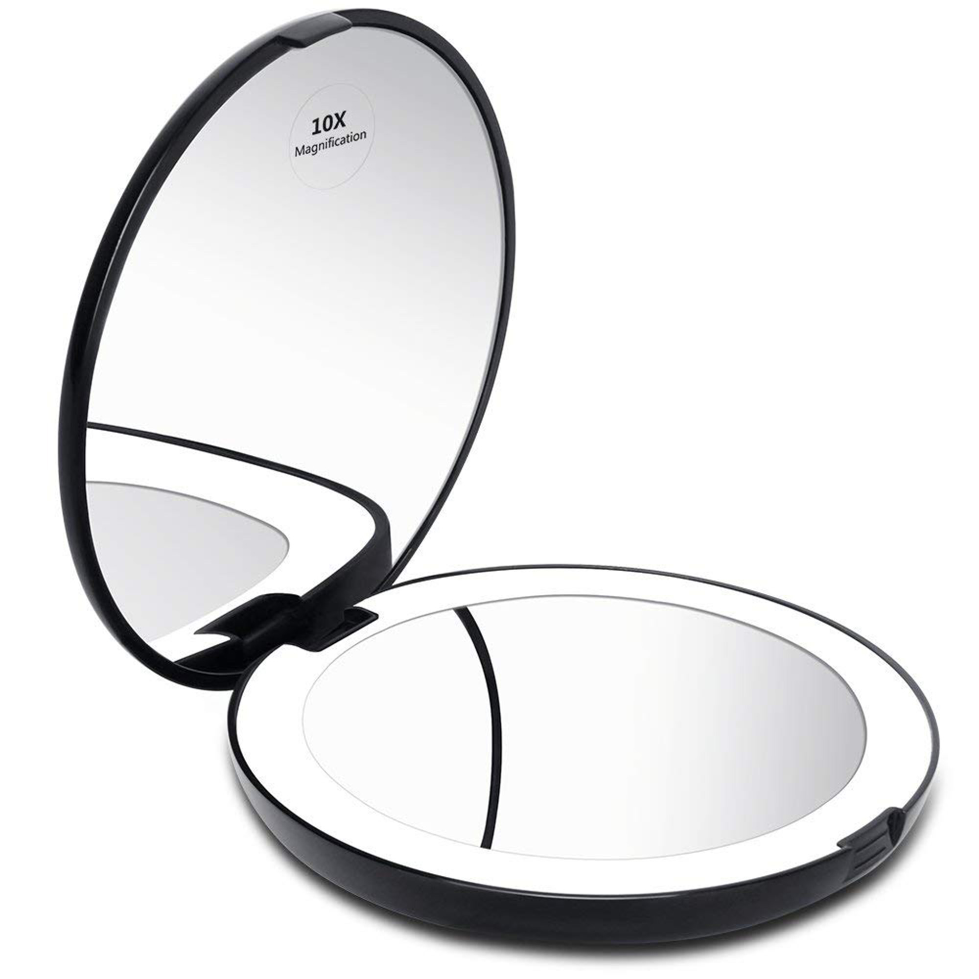 KEDSUM Perfect Oversized Hand Mirror Lighted Compact Travel Mirror 1x 10x Magnifying Makeup Mirror