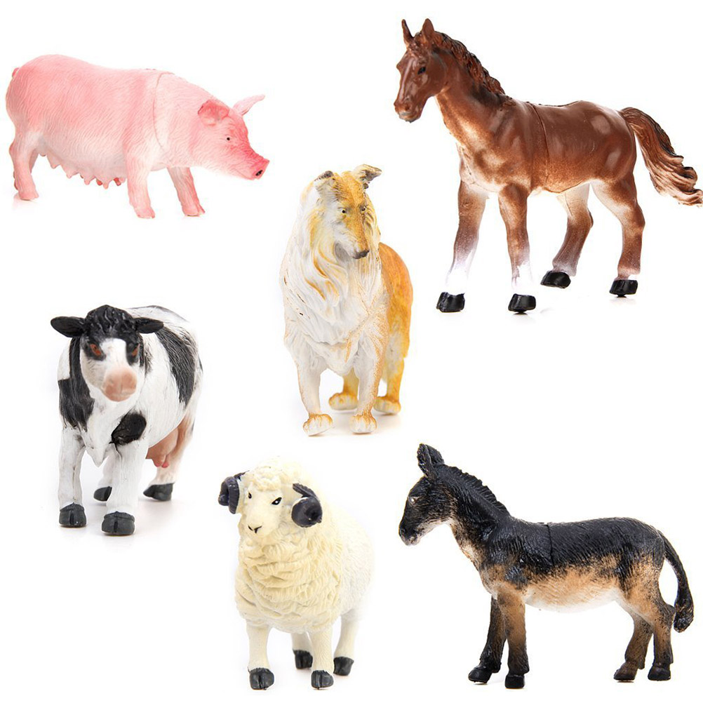Model Farm Animal Figures Toy Pig Dog Cow Sheep Horse Donkey, 6pcs Pack by