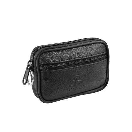 Unique Bargains Women's Imitation Leather Two Compartments Zipped Change Coin Money Purse Bag Black (Coin Purse Leather)