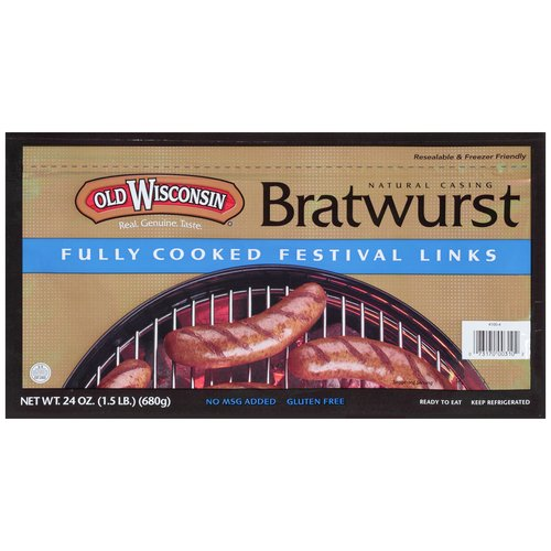 Old Wisconsin Natural Casing Bratwurst Fully Cooked Festival Links, 24 oz