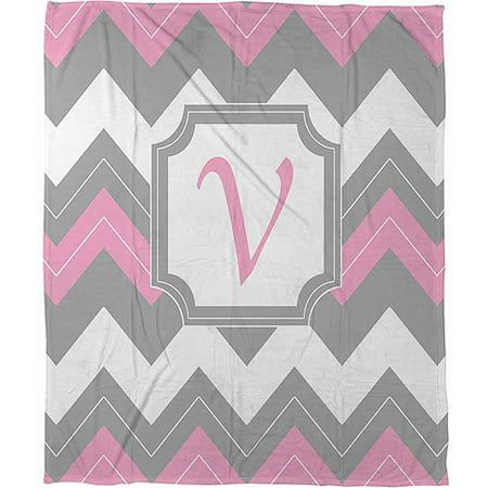 Thumbprintz Chevron Monogram Pink V Coral Fleece Throw, 30