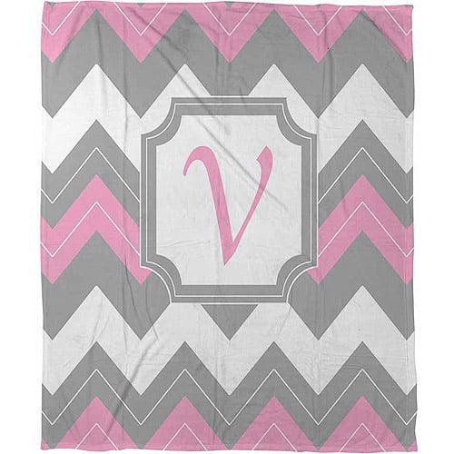 """Thumbprintz Chevron Monogram Pink V Coral Fleece Throw, 30"""" x 40"""""""