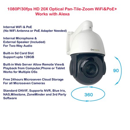 Microseven 1080P/30fps Outdoor PTZ WiFi, PoE+ IP Camera 20x Optical Zoom Pan Tilt Two-Way Audio, ONVIF Security Speed Dome Camera, Night Vision,SD Card Slot, Alexa ()