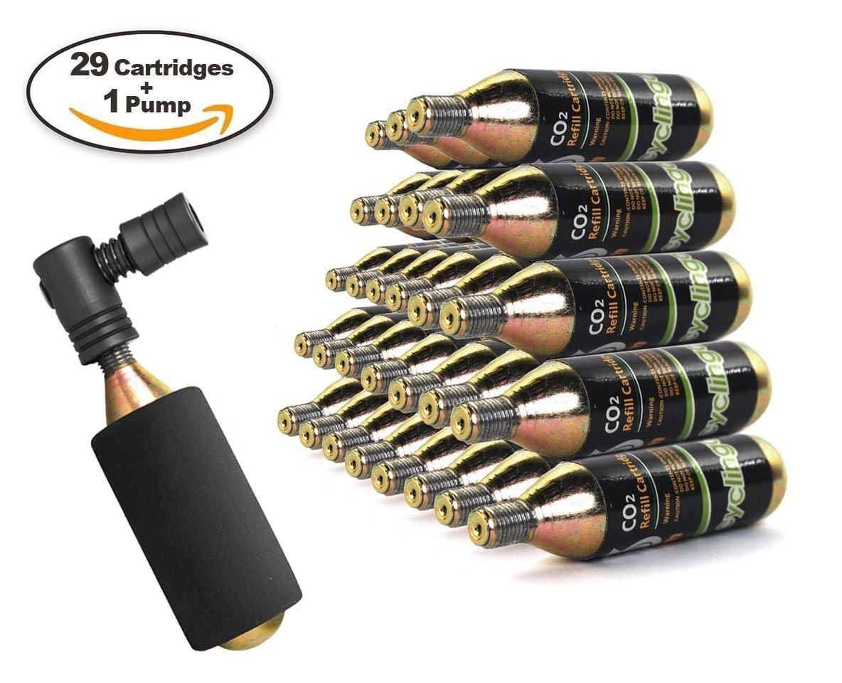29 x Bike Bicycle Air Pump Inflator 16g CO2 Threaded Cartridges & Pump by Cyclingdeal