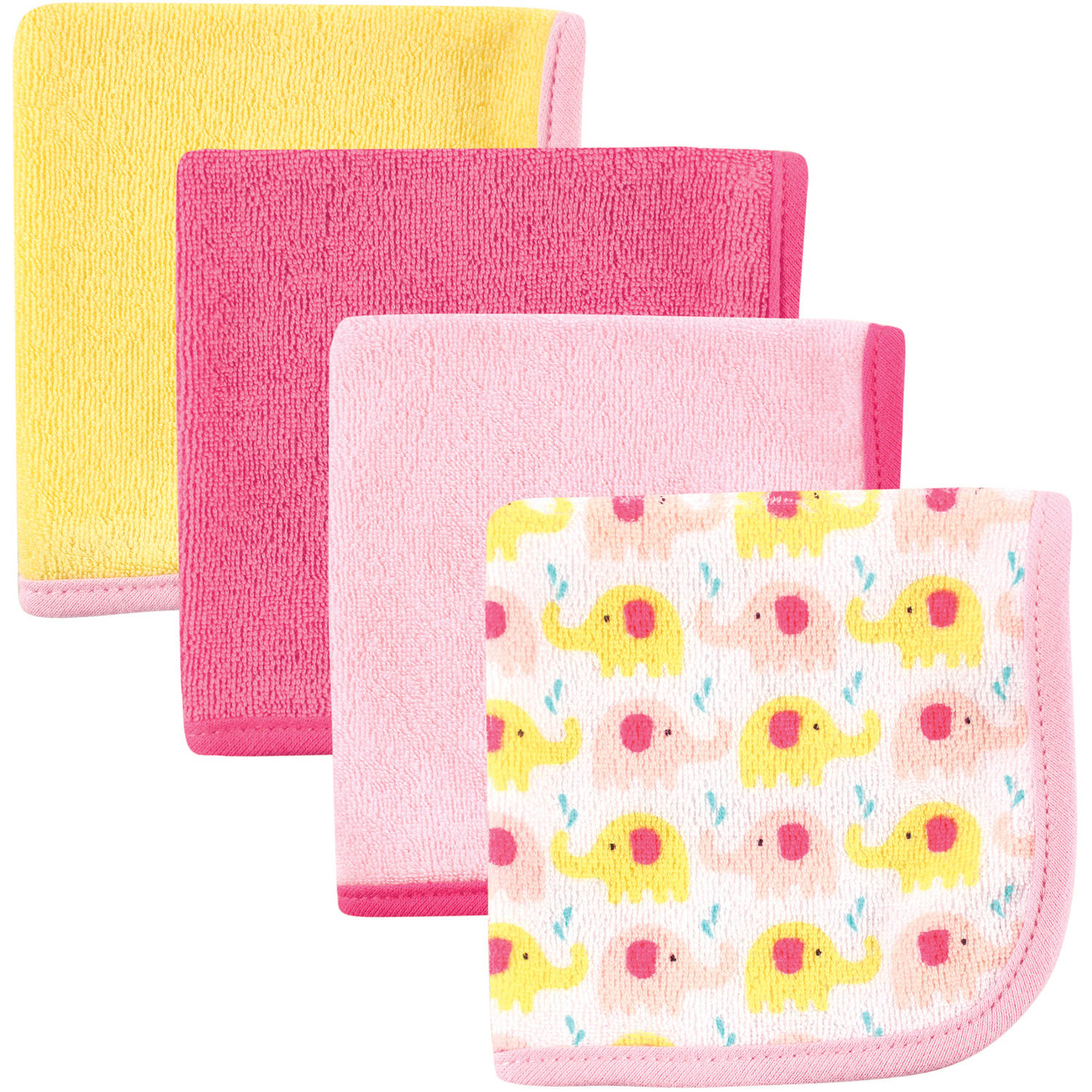 Luvable Friends Washcloths, 4pk, Pink Elephant
