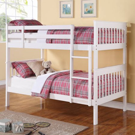 Coaster Twin Over Twin Wood Bunk Bed White Finish Walmart Com