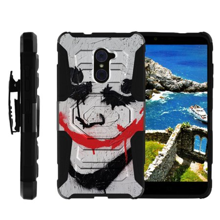 Grand Heritage Joker (ZTE Max Duo Black Case, ZTE Grand X Max 2 Case, ZTE Imperial Max Case [Armor Reloaded] Rugged Impact Protector + Clip Holster and Kickstand Heavy Duty by Miniturtle® -)