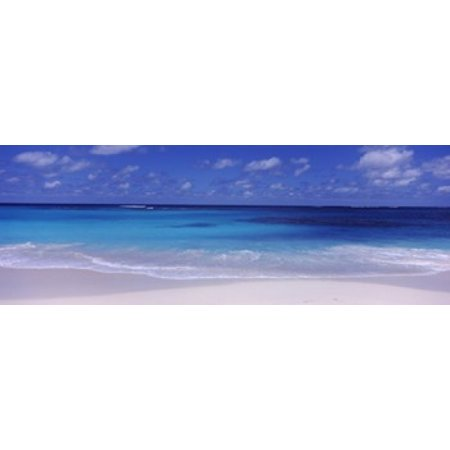 Waves on the beach Shoal Bay Beach Anguilla Canvas Art - Panoramic Images (36 x 13)