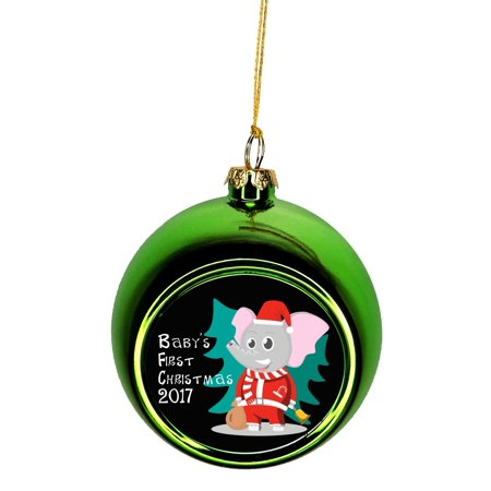Baby S First Christmas Ornament Elephant In Christmas Garb Bauble Christmas Ornaments Green Bauble Tree Xmas Balls
