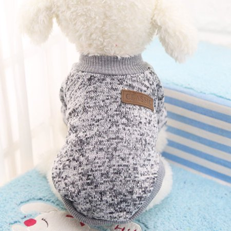 Dog Classic Sweaters, Pet Puppy Warm Clothes, Winter Soft Cat Jacket Coat Hoodies For Chihuahua Yorkie, Dogs XS-XXL Greyish white