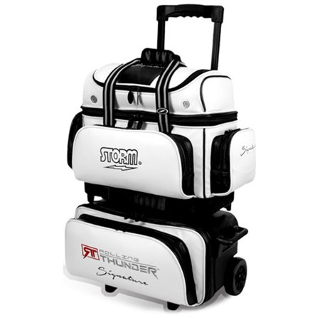 Storm 4 Ball Rolling Thunder Signature Bowling Bag- White/Black - 4 Ball Bowling Bags
