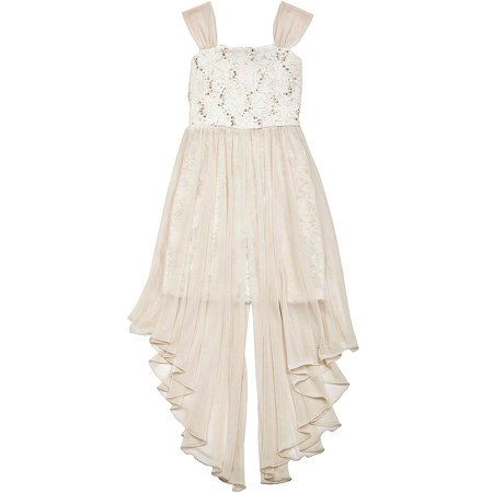 Rare Editions Big Girls Ivory Chiffon Sequin Girls Formal Dress 10 ()