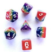 Galactic Dice Premium Dice Sets - Rainbow Acrylic Set of 7 Dice