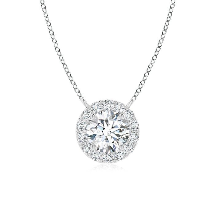 April Birthstone Pendant Necklaces Round Diamond Necklace with Halo in Platinum (4.1mm Diamond) SP0797D-PT-GVS2-4.1 by Angara.com