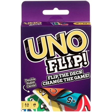 4 Classic Card Games (UNO FLIP! Double Sided Card Game for 2-10 Players Ages 7Y+ )