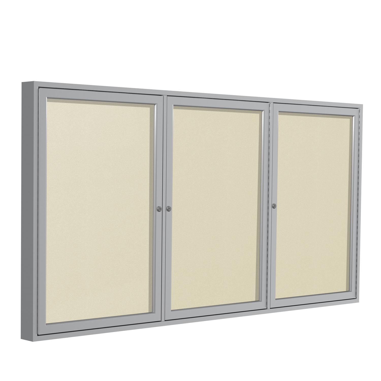PA33672VX-181 Ghent 3 Door Enclosed Vinyl Bulletin Board with Satin Frame Wall Mounted TackBoard, 3'H x 6'W, Caramel