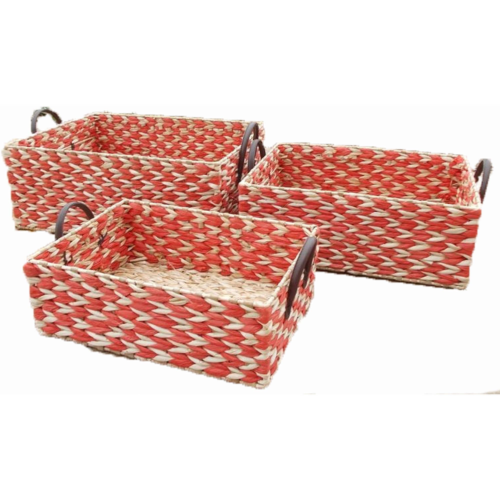 Baum 2-Tone Rush Baskets, Set of 3, Red