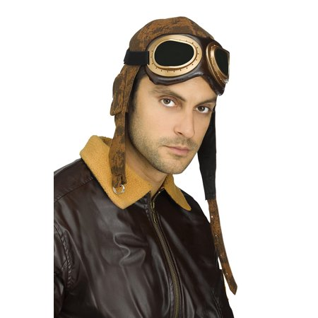 Adult Aviator Cap and Goggles With Adjustable Strap Halloween Costume Accessory](Aviator Goggles And Hat)