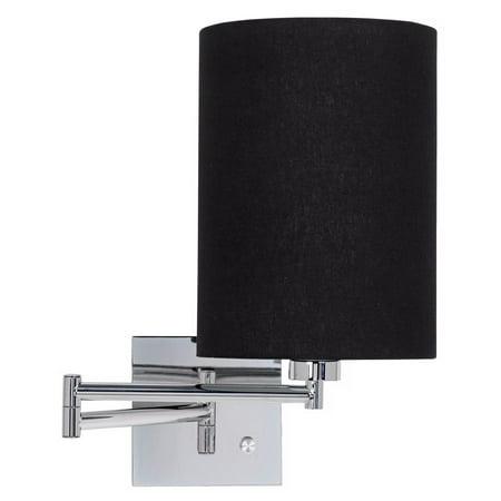 Possini Euro Design Black Cylinder Shade Plug-In Swing Arm Wall Lamp
