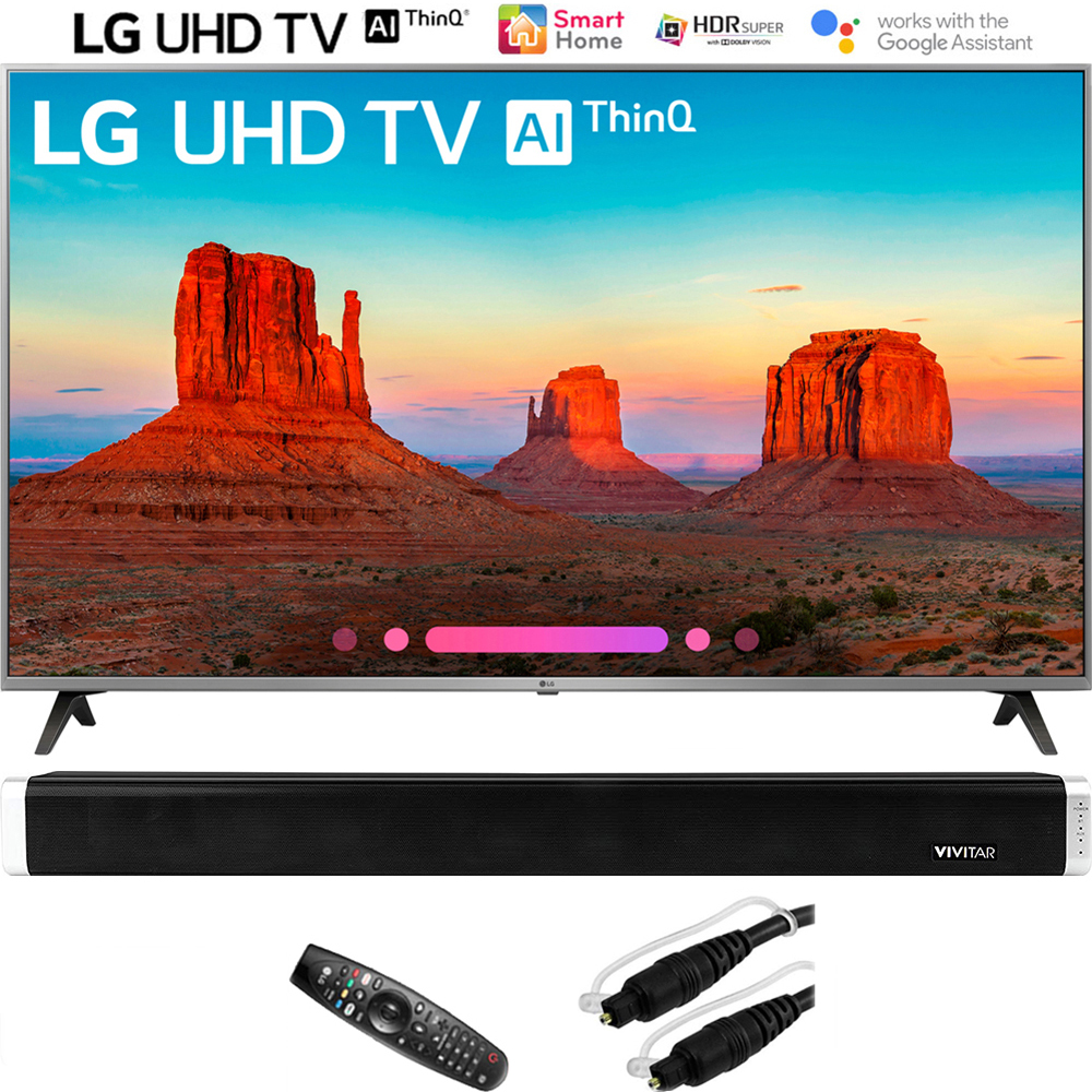 """LG 55UK7700PUD 55"""" Class 4K HDR Smart LED AI UHD TV w/ThinQ (2018 Model) with Vivitar 24-Inch Wall Mountable Wireless Bluetooth Soundbar and 6ft Optical Toslink 5.0mm OD Audio Cable"""