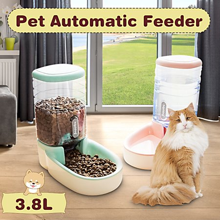1 Gallon Large Capacity Dog Cat Pets Automatic Feeder 2 in 1 Drinking Fountain Dispenser Feeding Bowl Automatic Pet Dog Cat