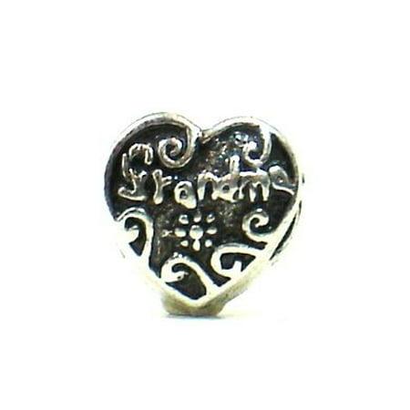 "Pandora Style Antique Silver Plated Heart Shaped ""Grandma"" Bead Charm"